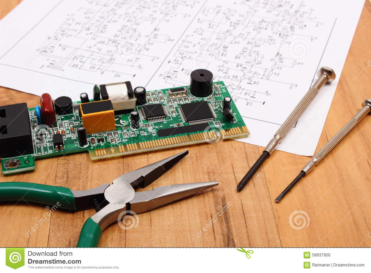 Construction Technology Tools : Printed circuit board precision tools and diagram of
