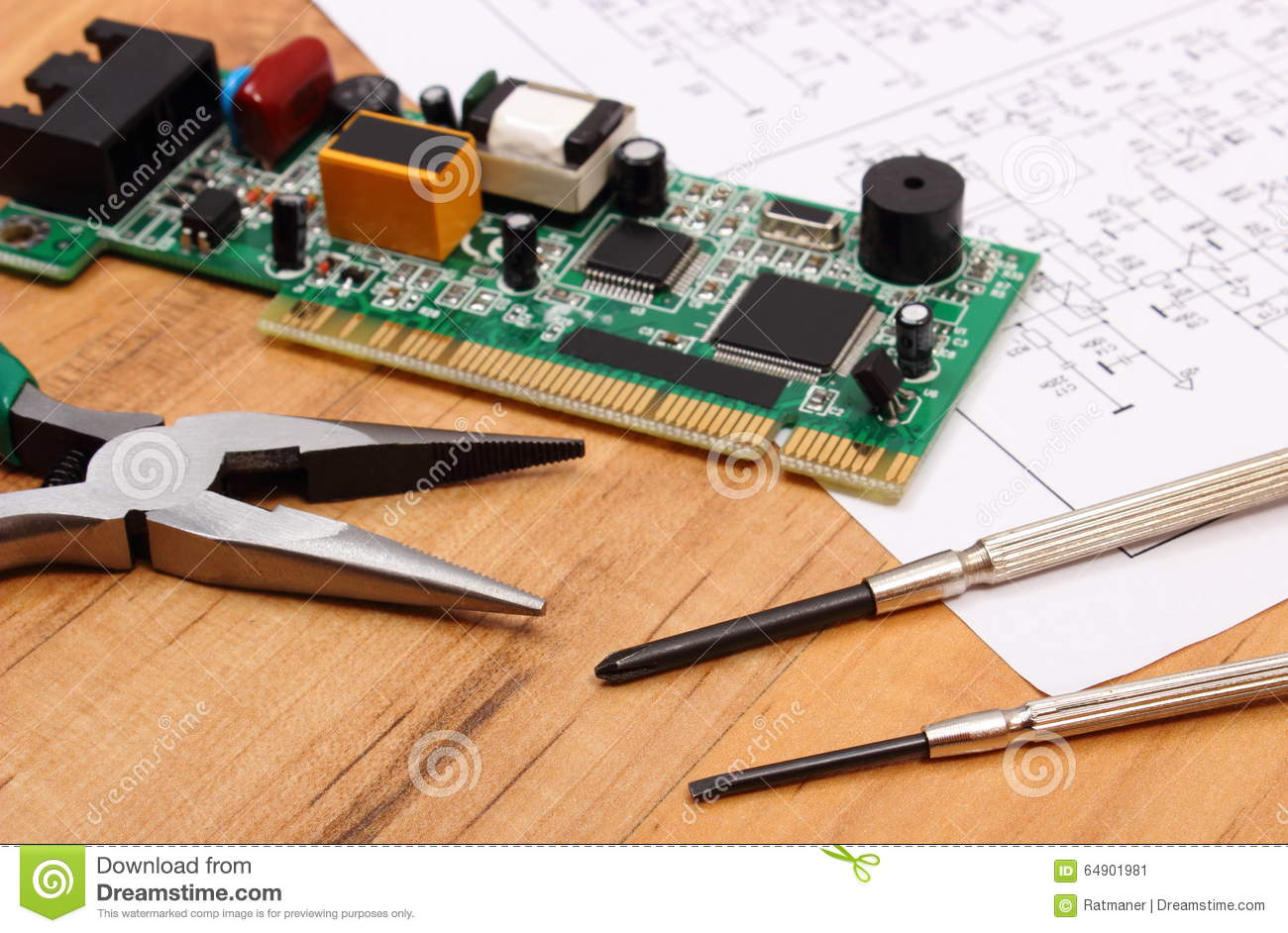 Printed Circuit Board Precision Tools And Diagram Of Electronics Motherboard Components Technology