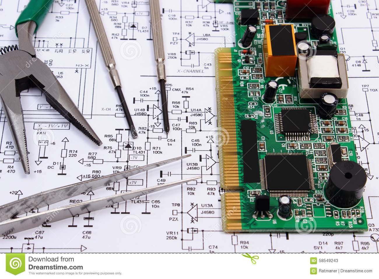 Printed Circuit Board And Precision Tools On Diagram Of Electronics Electronic With Processor Repair Boards Stock Technology