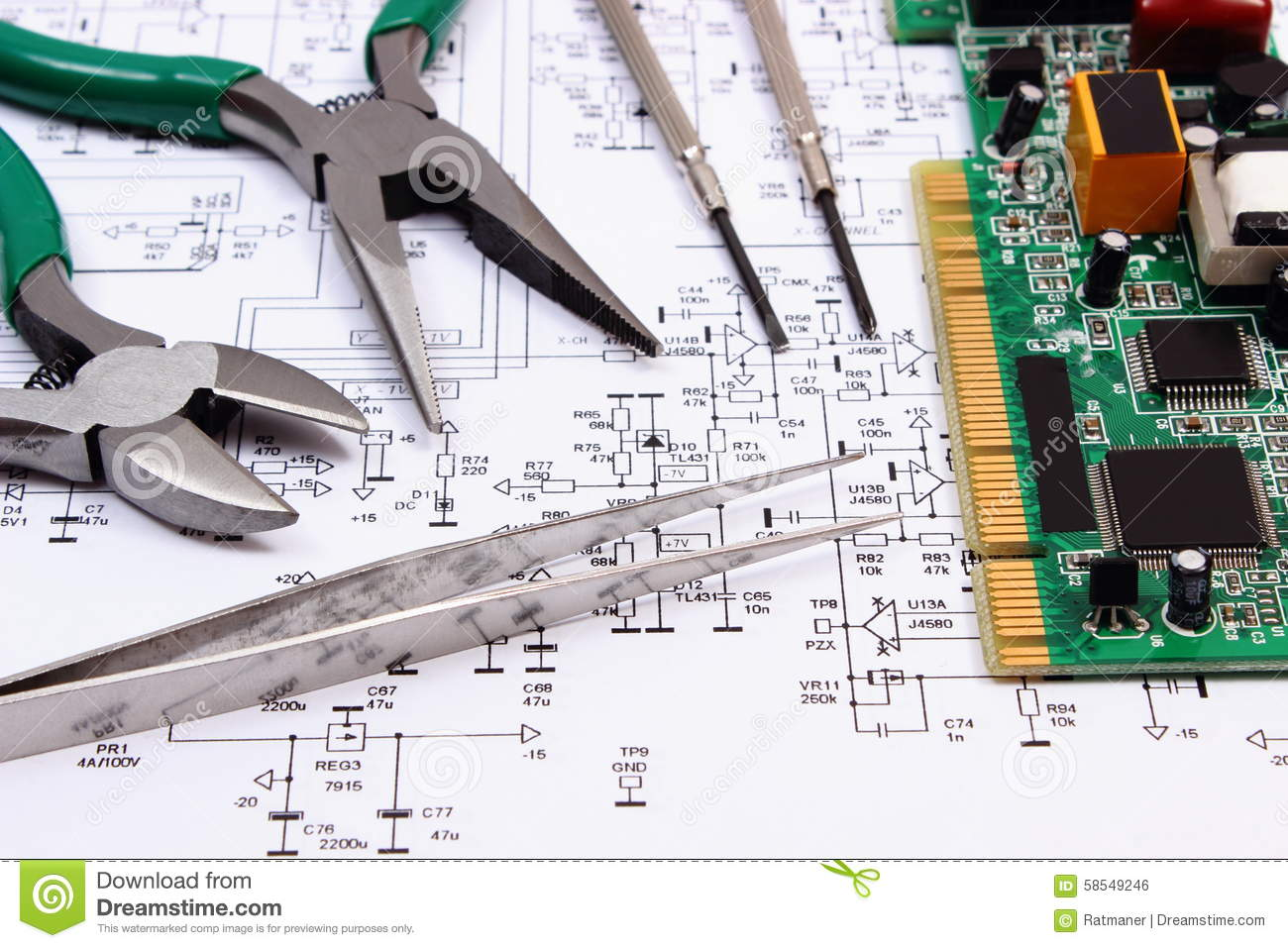 Printed Circuit Board And Precision Tools On Diagram Of ...