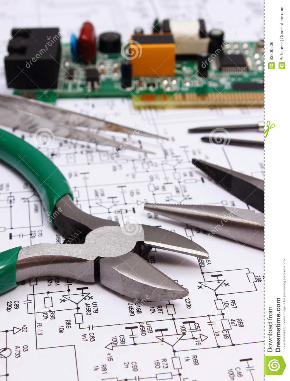 Printed Circuit Board And Precision Tools On Diagram Of Electronics With Electrical Components Technology