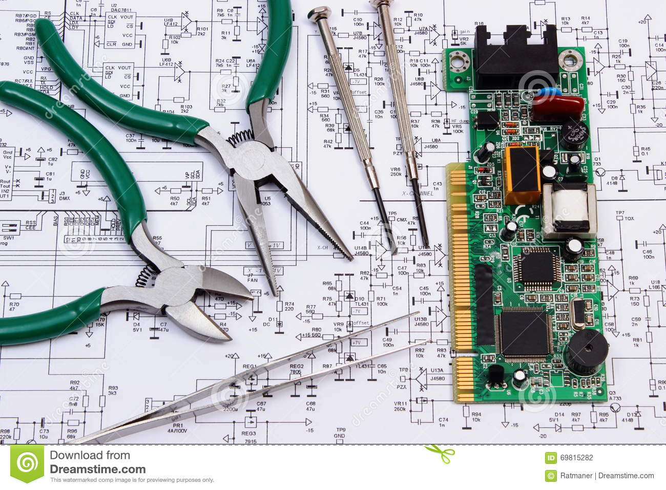 Printed Circuit Board And Precision Tools On Diagram Of Electronics Electric Technology