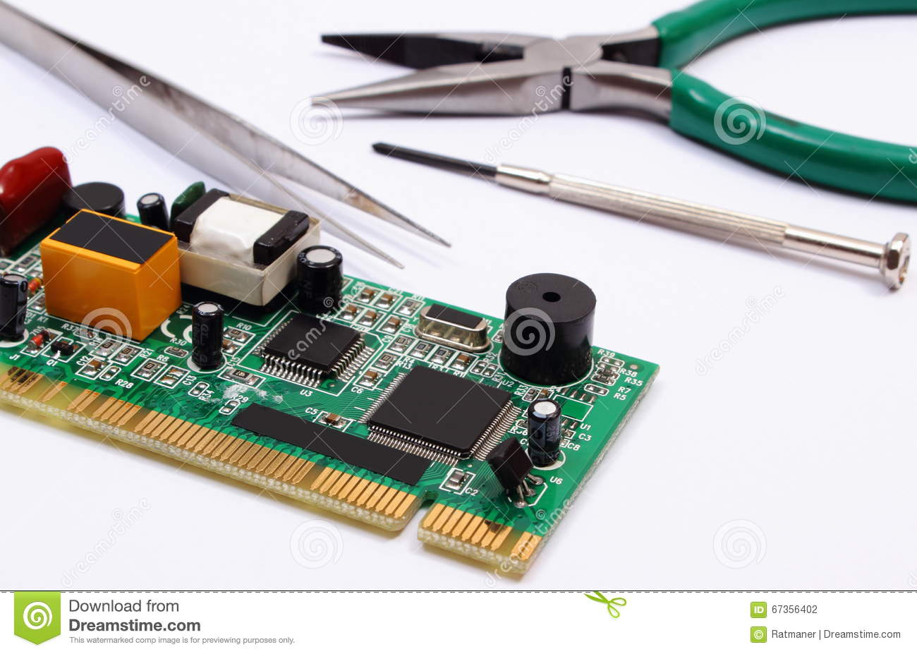 Printed Circuit Board And Precision Tools On White Background Electronic Jobs Technology