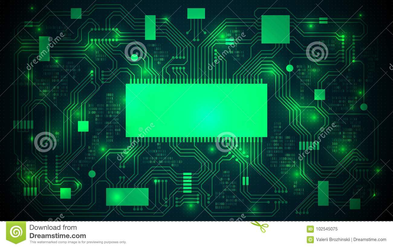 Printed Circuit Board With A Processor Microchips And Binary Code Abstact Background Stock Images Abstract High Tech Electronic Copy Space Template Well Organized Layers