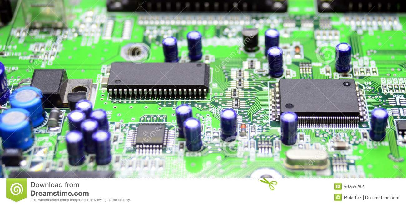 Printed Circuit Board With Radio Parts Stock Photo Image Of