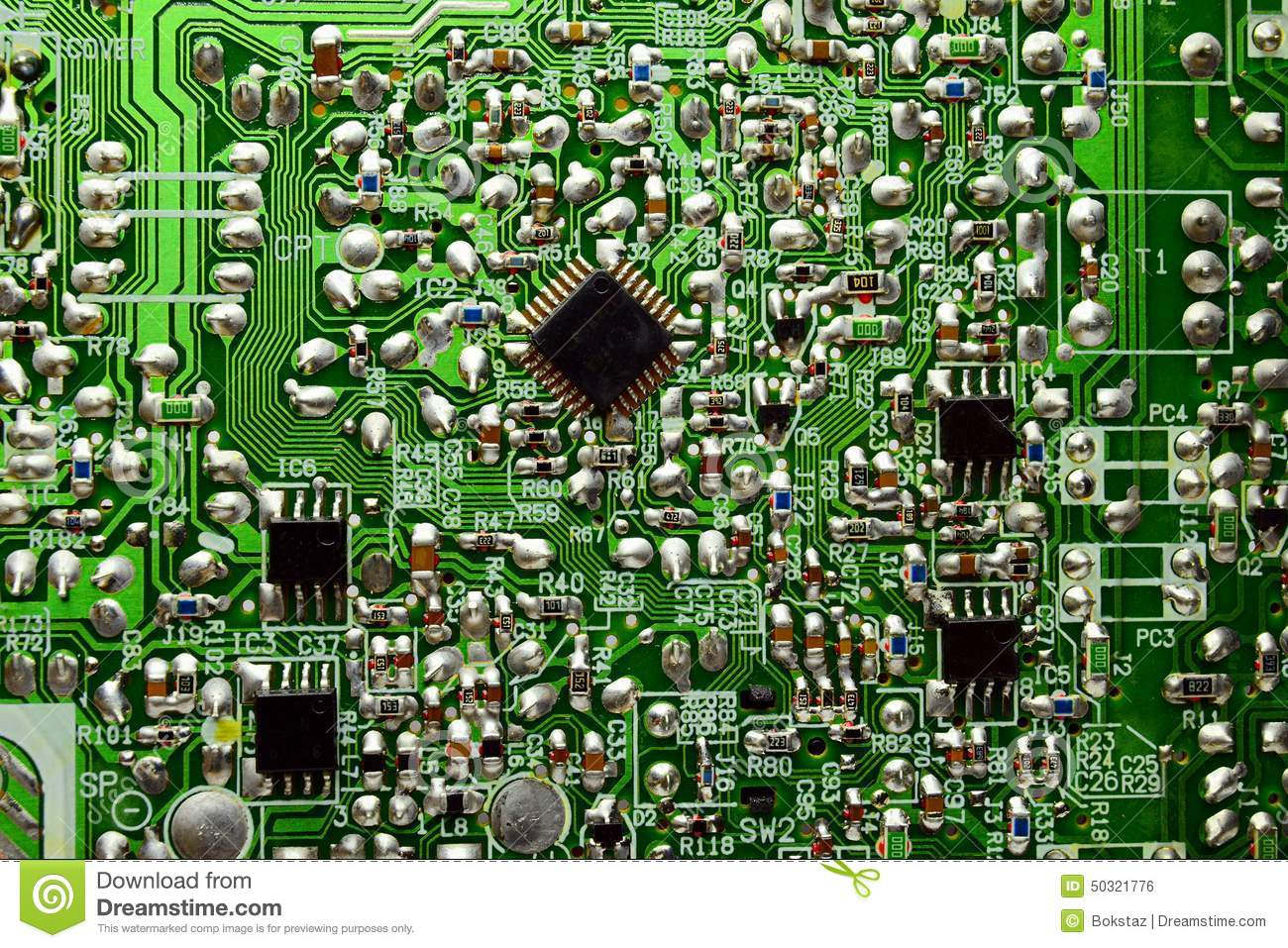 Printed Circuit Board With Radio Parts Stock Photo Image Of Data