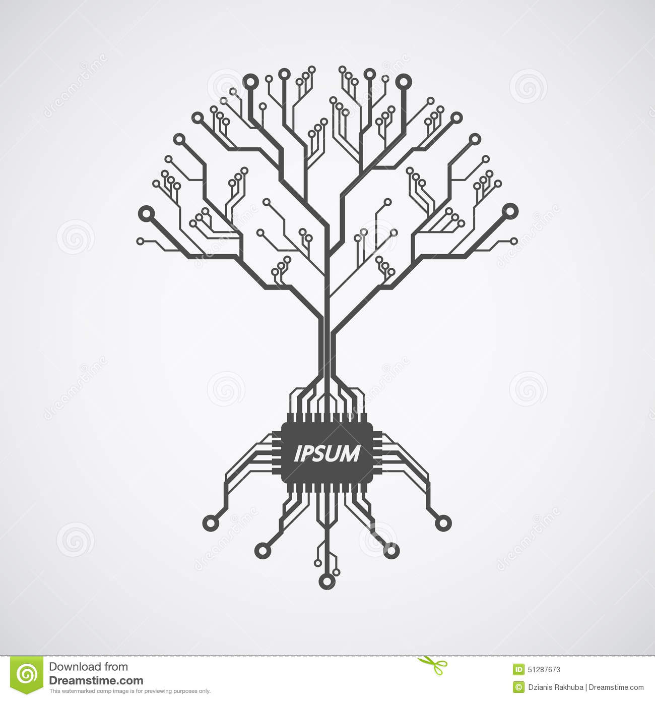 Picture of a circuit board pattern infom of a tree with roots formed ...