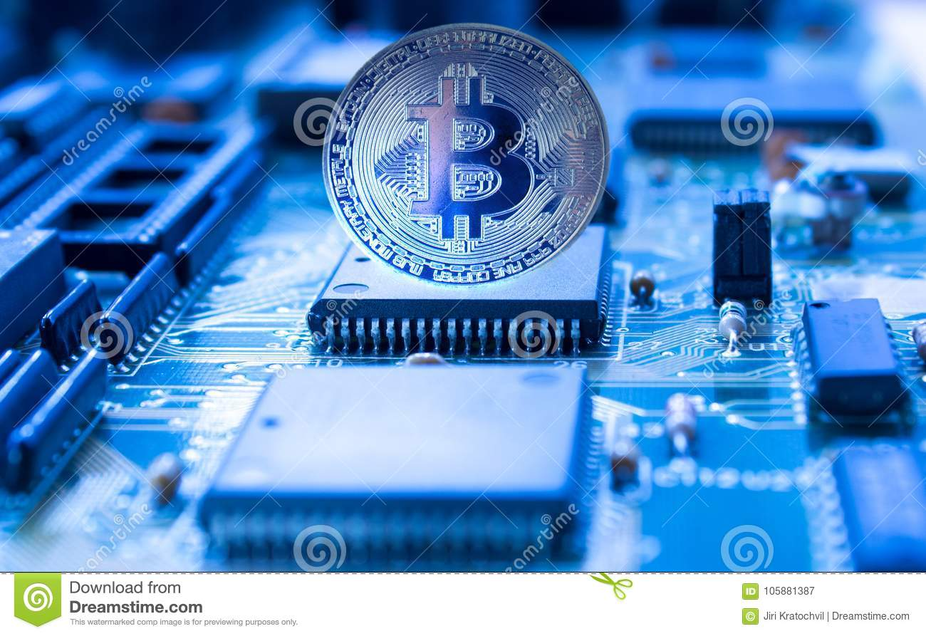 Crypto Currency Bitcoin On Printed Circuit Board Stock Image Pcb The Printedcircuitboard 3d Royalty Free Photography Photo
