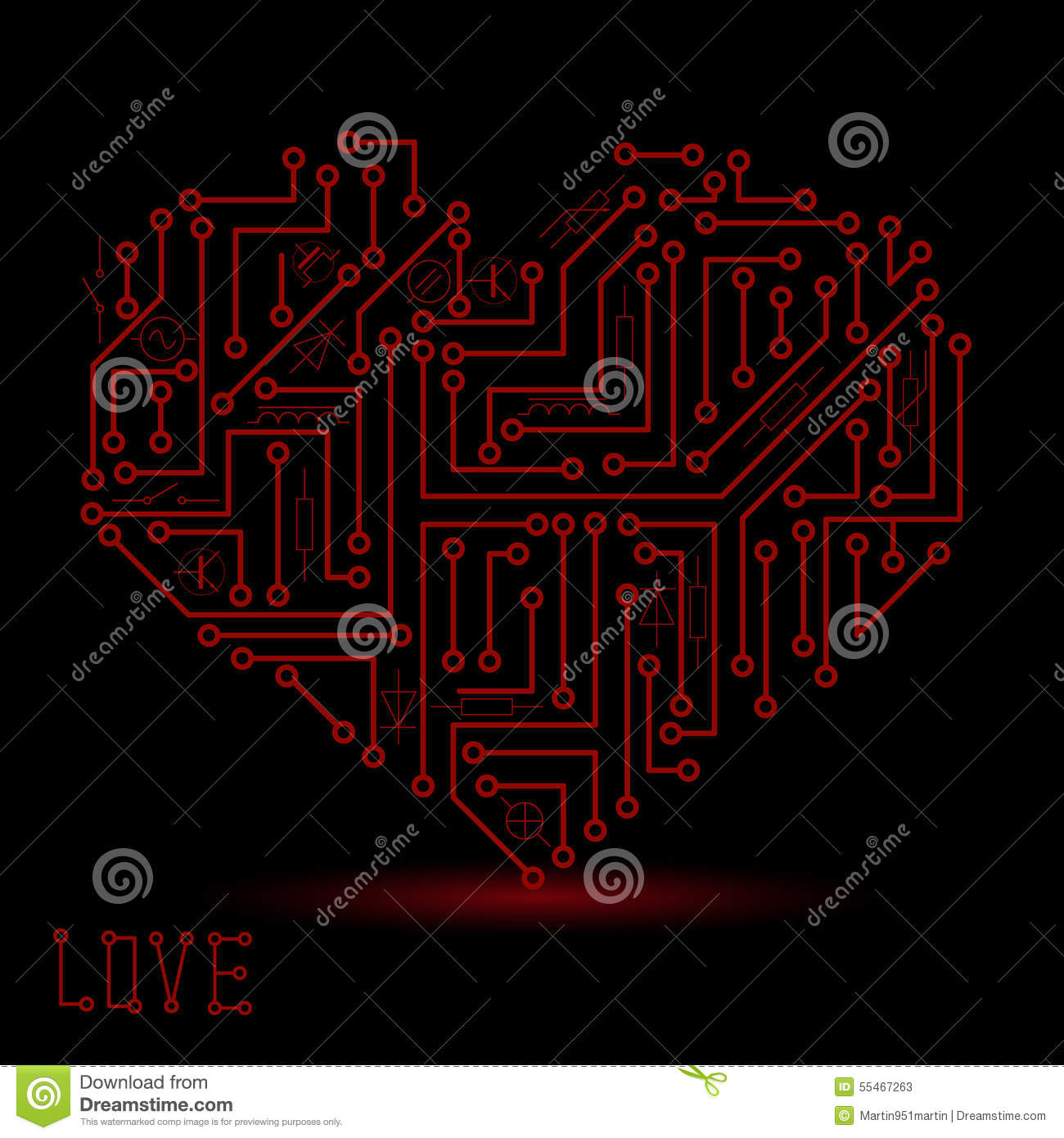 Printed Dark Red Electrical Circuit Board Heart Symbol Eps10 Stock Simple Diagram Symbols Vector Seamless