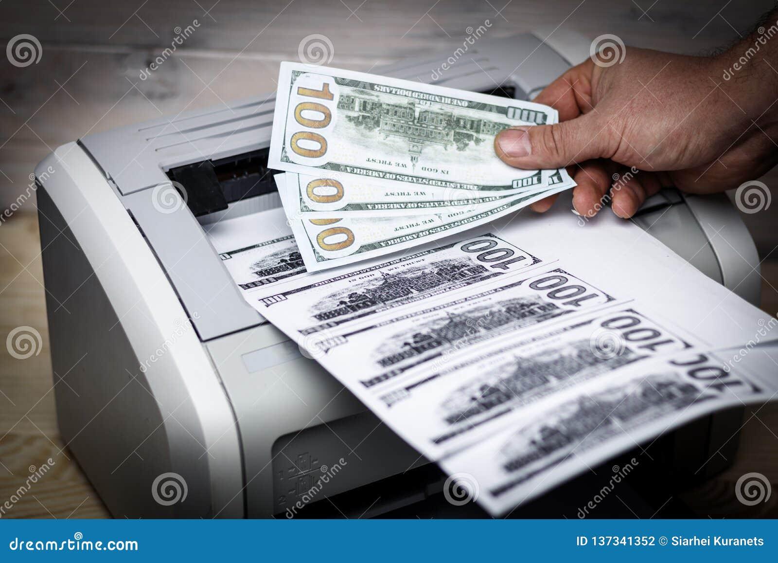 Printed Dollars  Home Printer  Concept, Crime, Fake Money