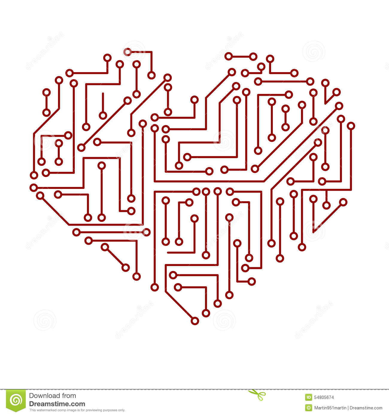 printed electrical circuit board heart symbol eps10 stock vector rh dreamstime com Printed Circuit Board Layers printed circuit board symbol
