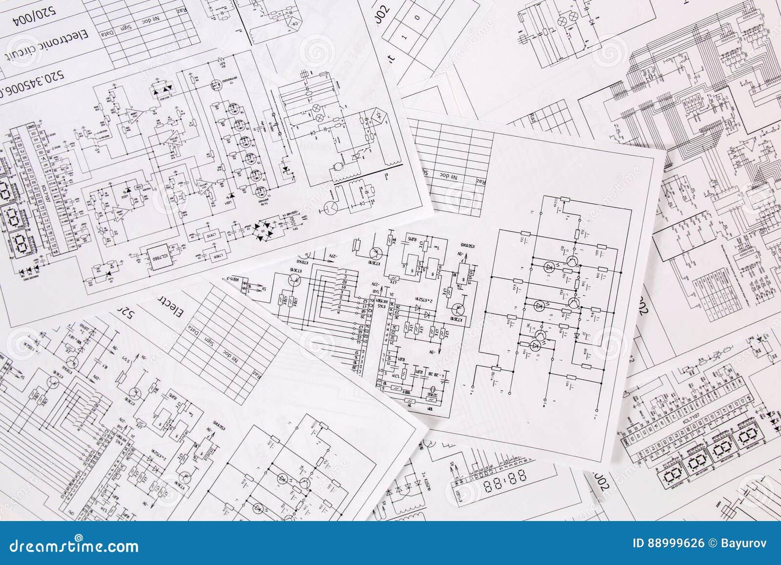 Printed Electrical Drawings Stock Photo - Image of measure, engineer ...