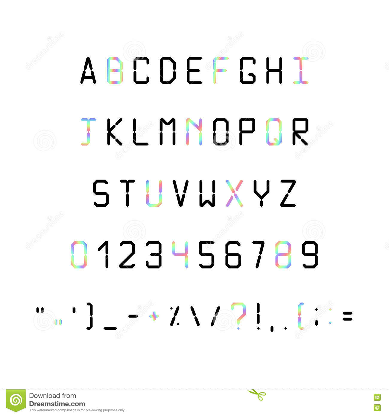 printed font fonts 80s 90s with a hologram simple letters and symbols