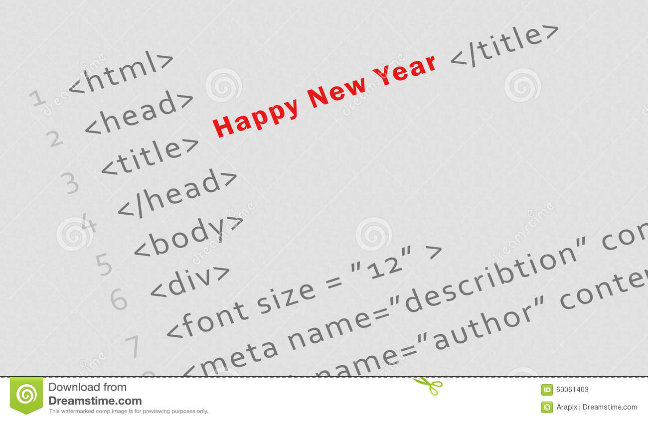 Printed Html Code For Happy New Year Stock Photo