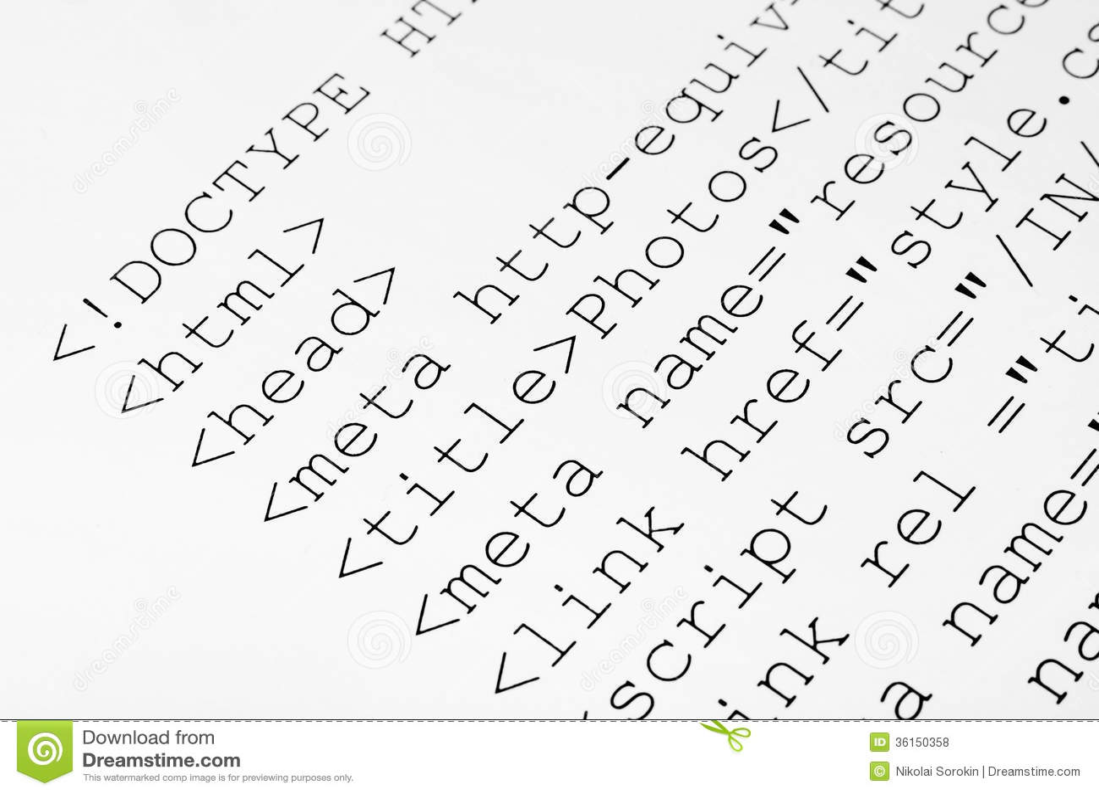 Printed Internet Html Code Royalty Free Stock Photos - Image: 36150358