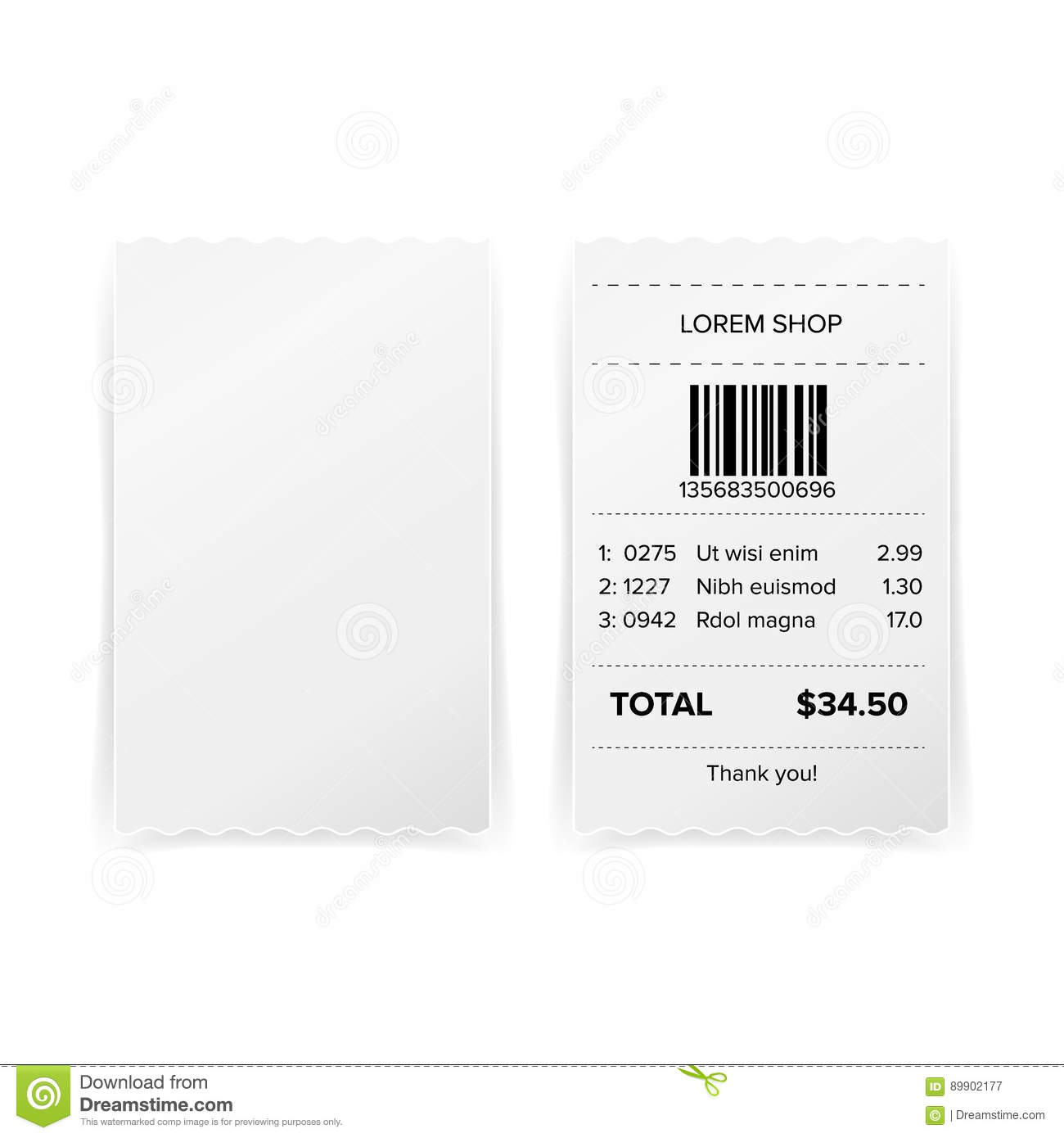 printed receipt vector bill atm template cafe or restaurant paper financial check realistic illustration