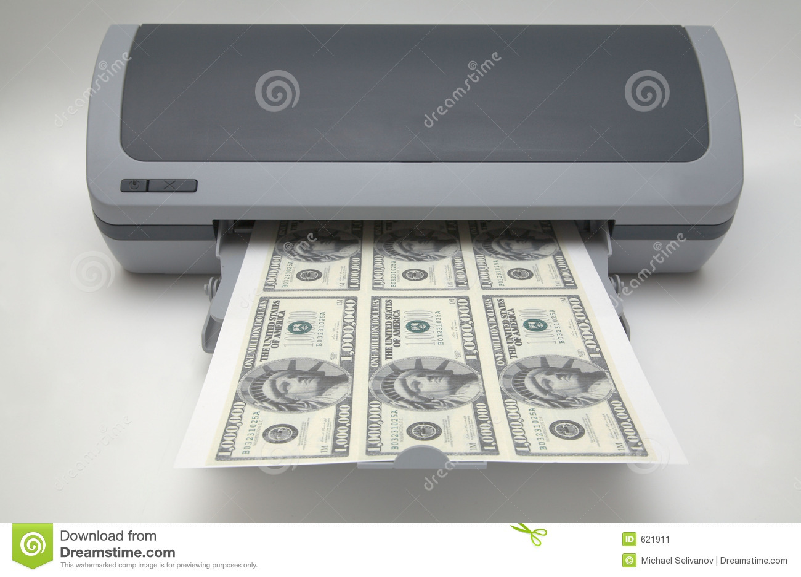 Printer With 1000000 Dollar Bills Stock Image Image 621911