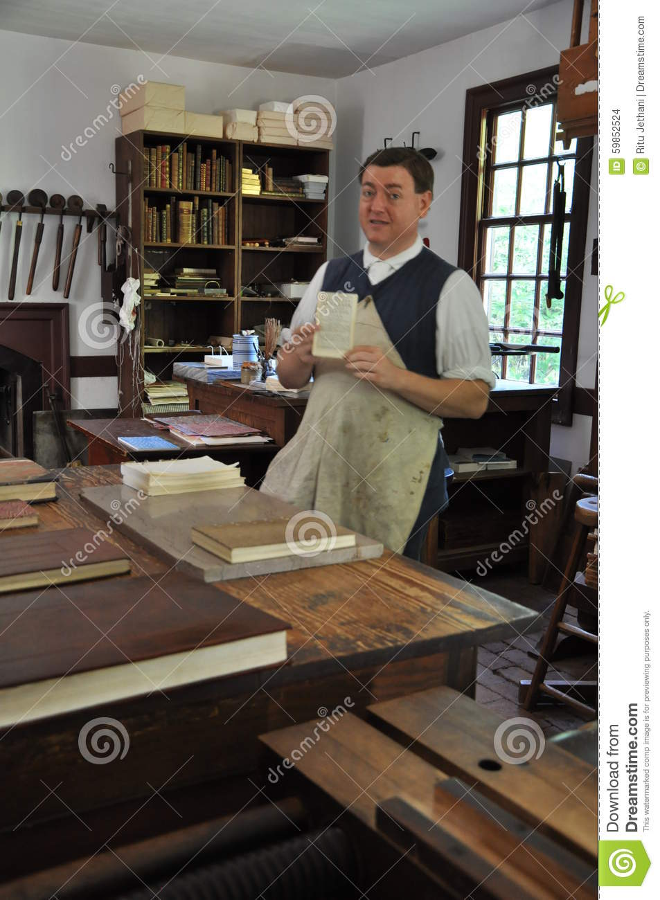 printer and binder in colonial williamsburg virginia editorial
