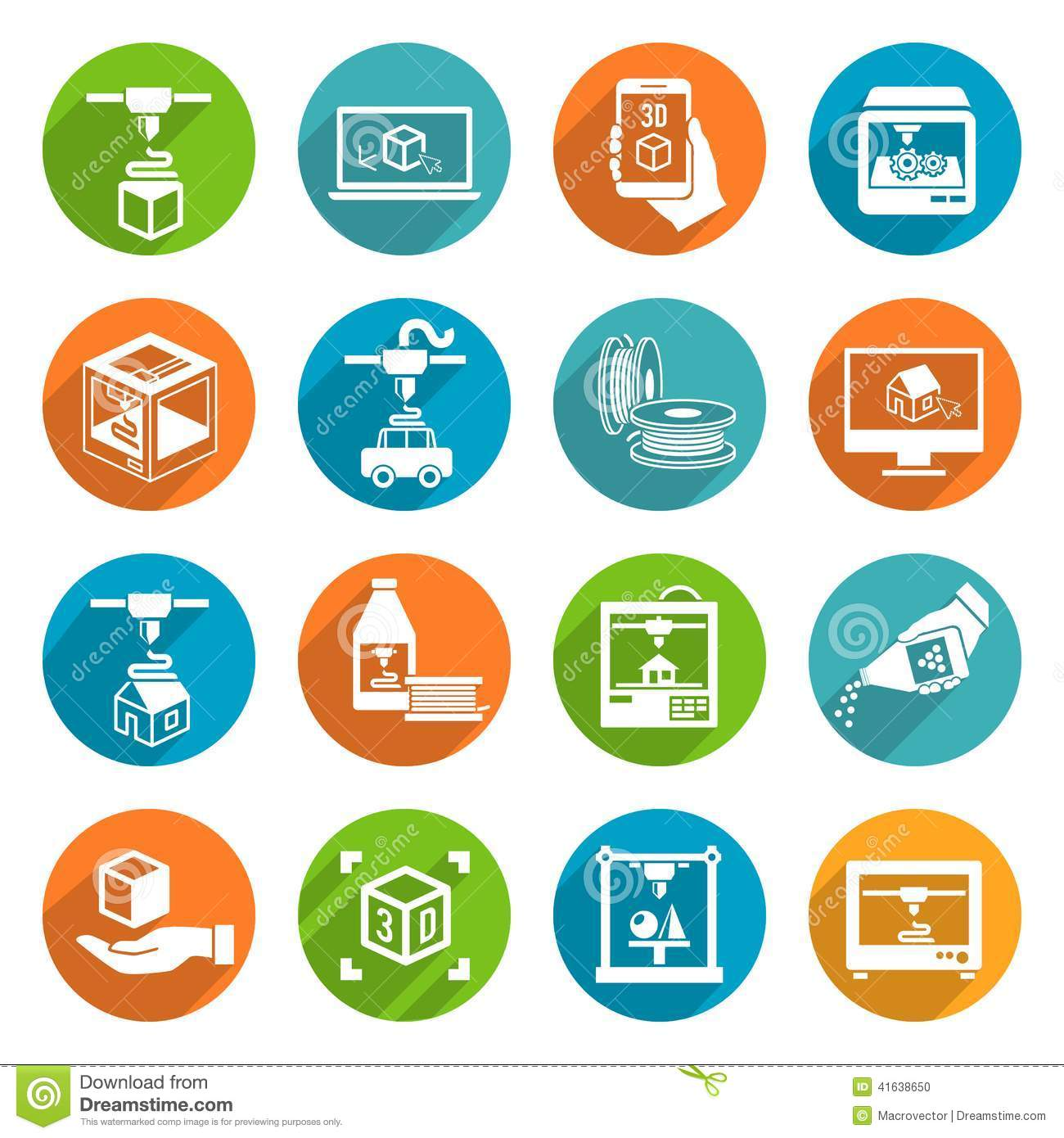 Printer 3d Icons Stock Vector. Image Of Design, Icons