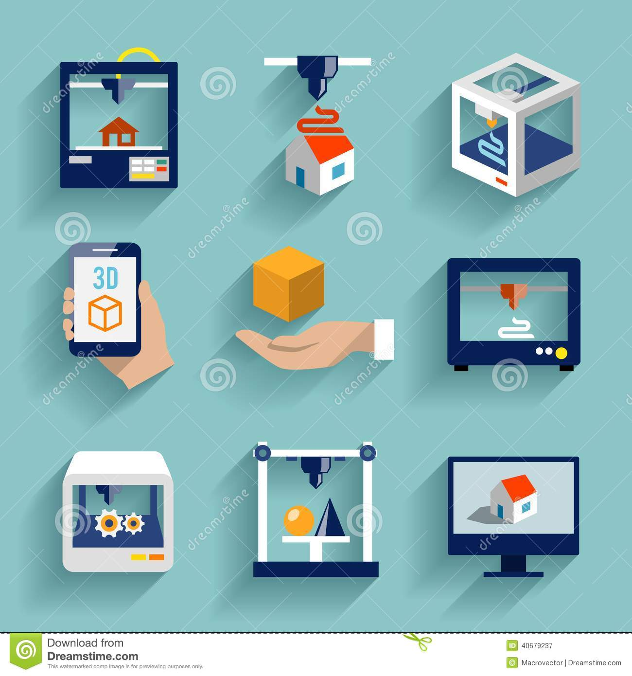 Printer 3d Icons Set Flat Stock Vector Image Of