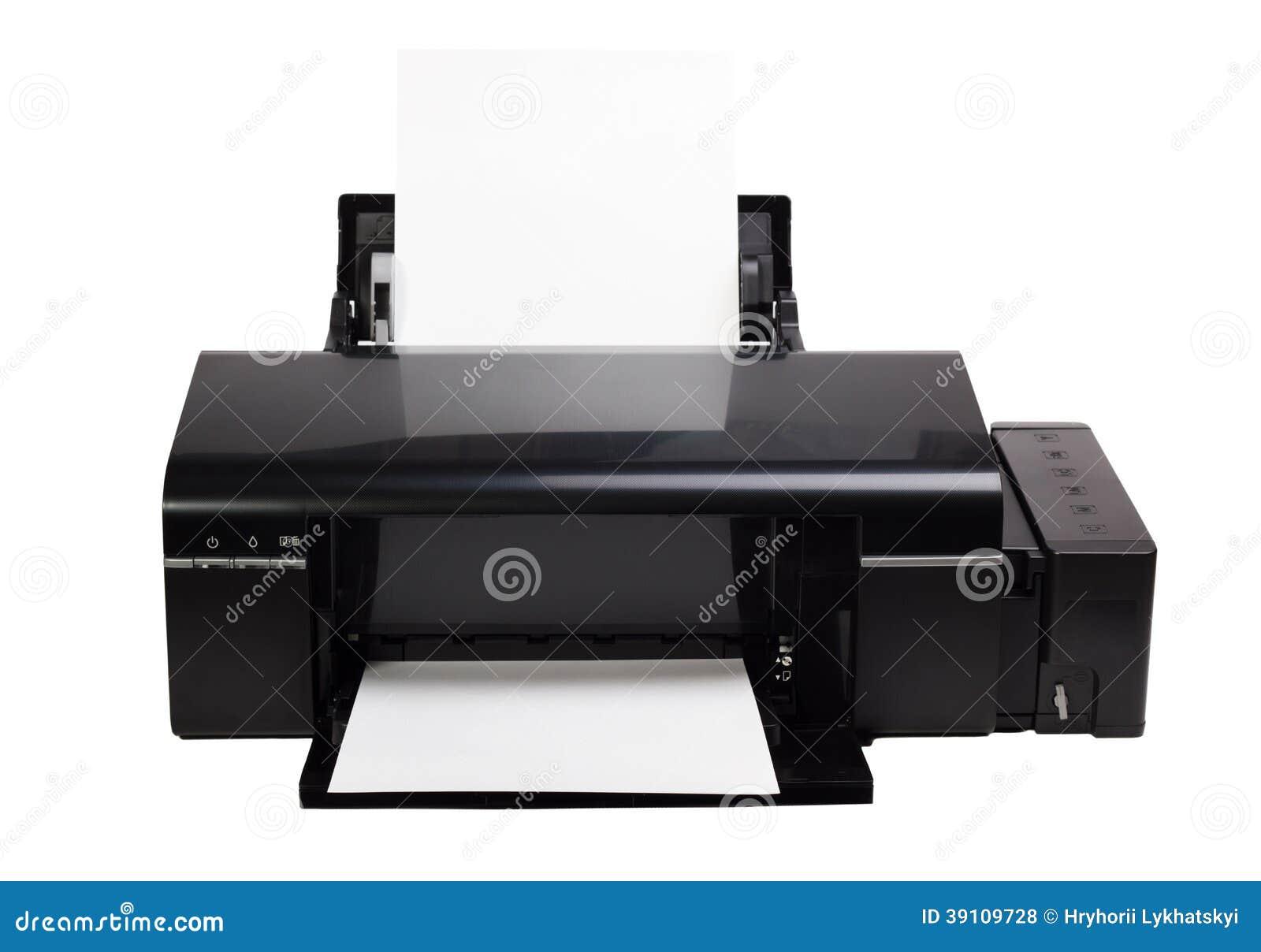 Printer en document op witte achtergrond wordt geïsoleerd die