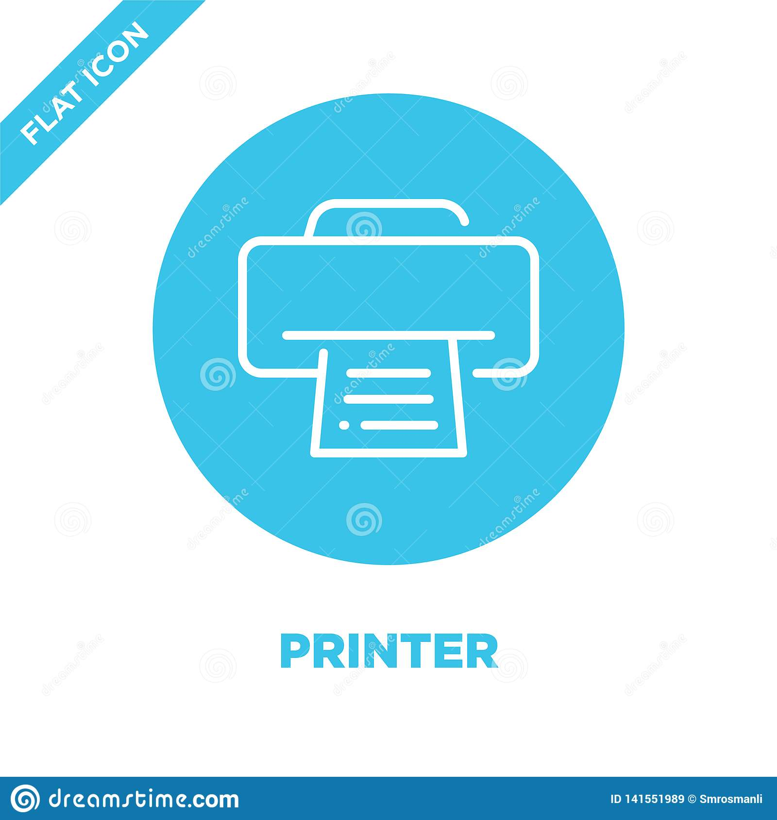 printer icon vector. Thin line printer outline icon vector illustration.printer symbol for use on web and mobile apps, logo, print