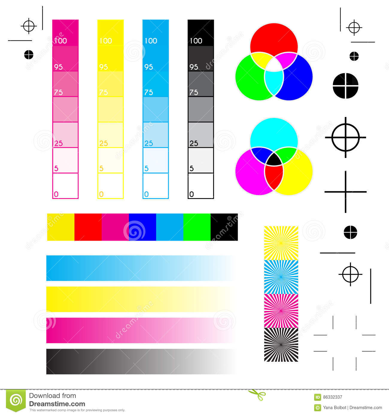 printer color calibration test page - printer marks stock vector image of cross calibrate