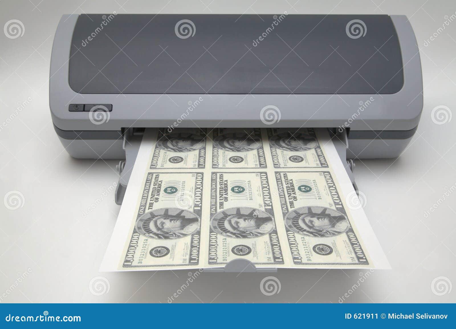 Printer met 1000000 dollarsrekeningen
