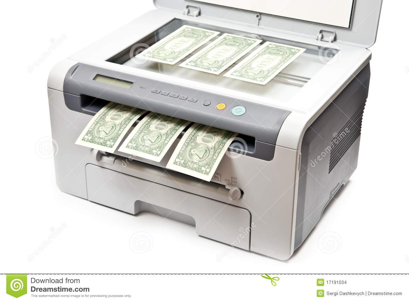 Printer And Money Stock Images Image 17191034