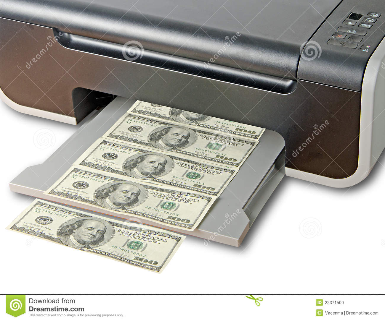 Multi Printing Money Fake Of - 22371500 Photo Stock Dollar Printer Image