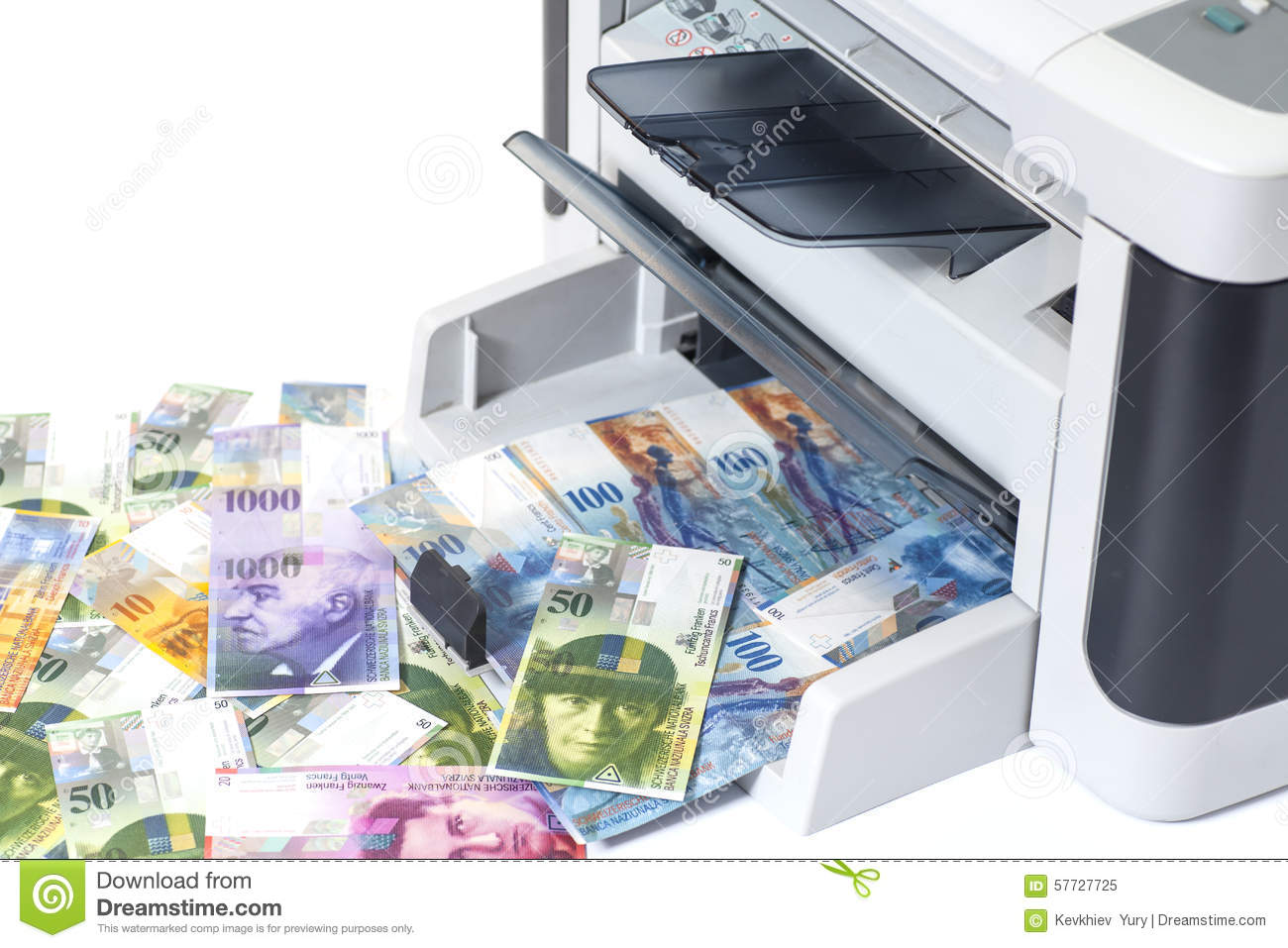 Currency Printing Bill Mint Francs Image Stock 57727725 Of Swiss Fake - Switzerland Printer