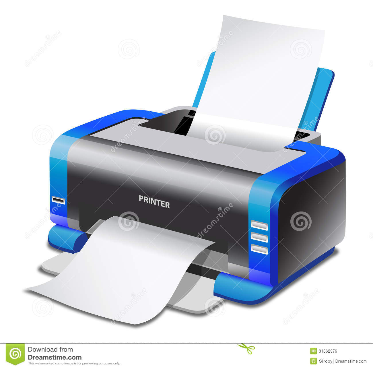 Vector colored inkjet printer isolated on white background