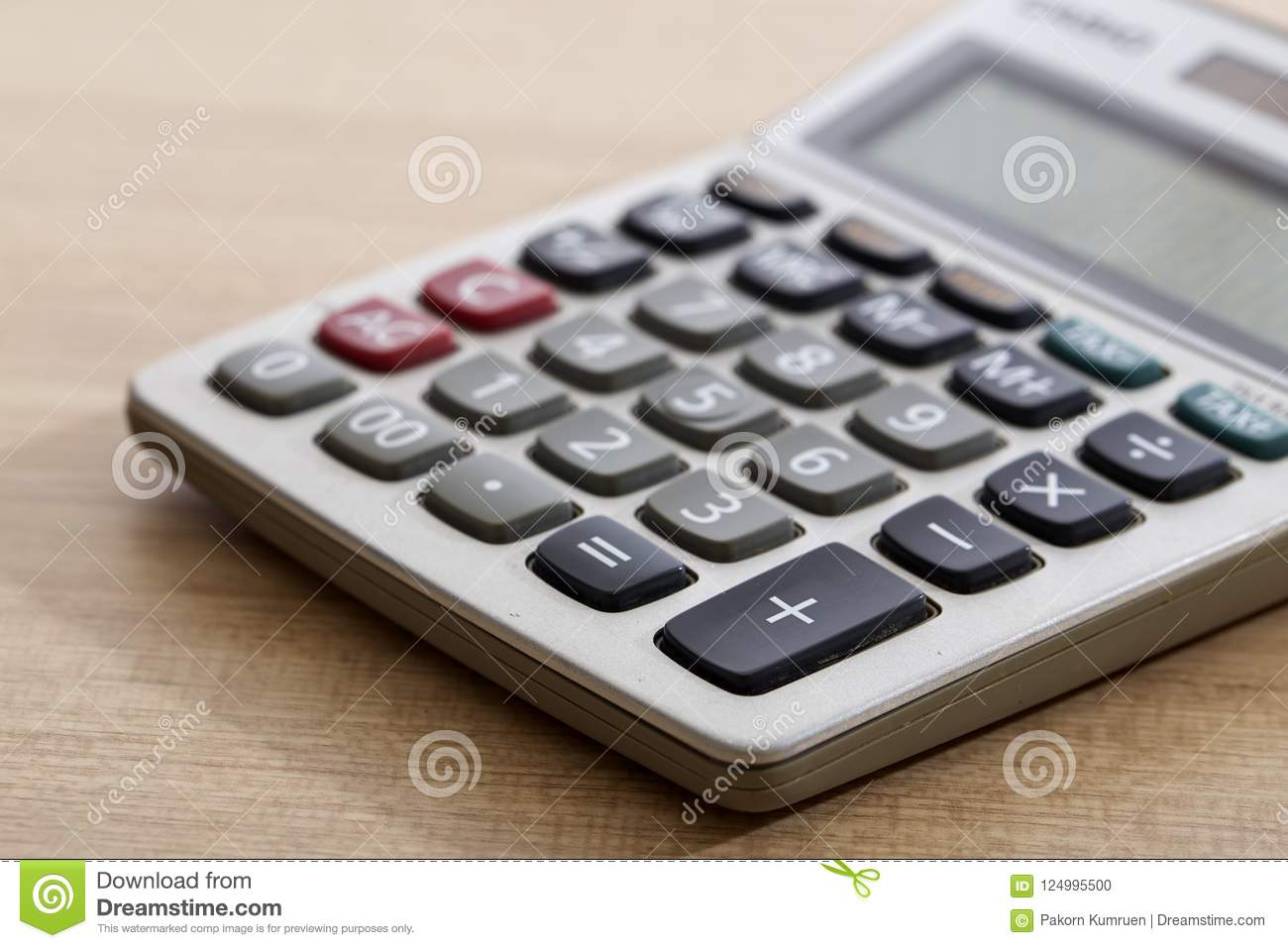 close up of old dirty calculator on table stock photo image of
