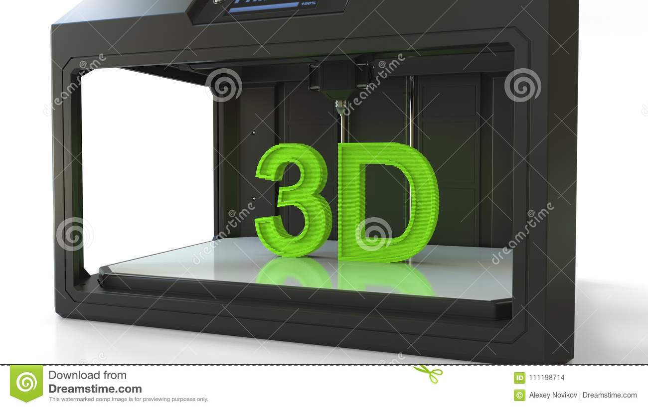 Printing green letters with a 3D printer