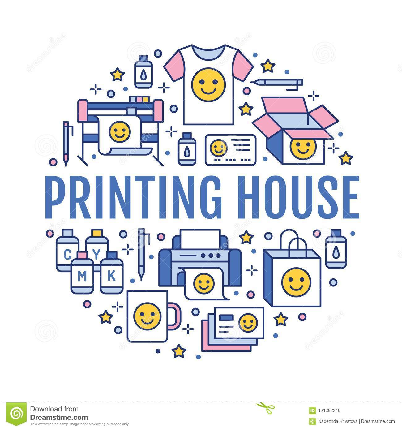 Printing house circle poster with flat line icons. Print shop equipment - printer, scanner, offset machine, plotter