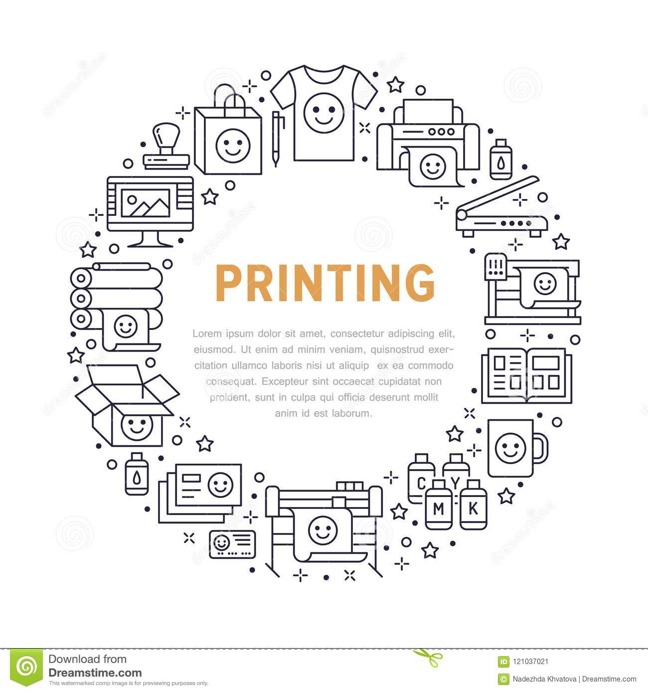 Printing House Circle Poster With Flat Line Icons Print Shop Offset Diagram Press Equipment Printer Scanner