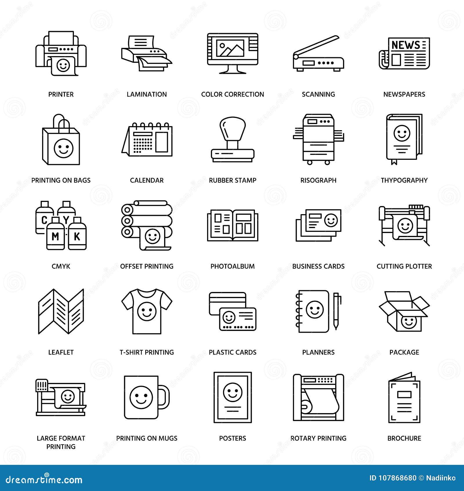 Printing house flat line icons. Print shop equipment - printer, scanner, offset machine, plotter, brochure, rubber stamp