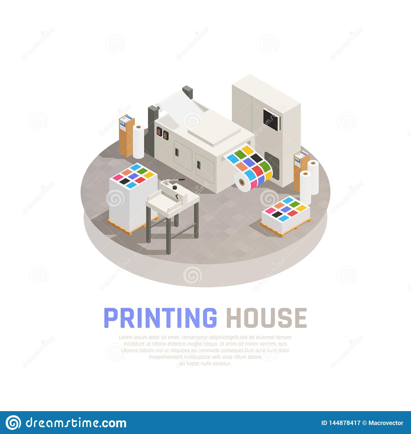 Printing House Polygraphy Isometric Composition