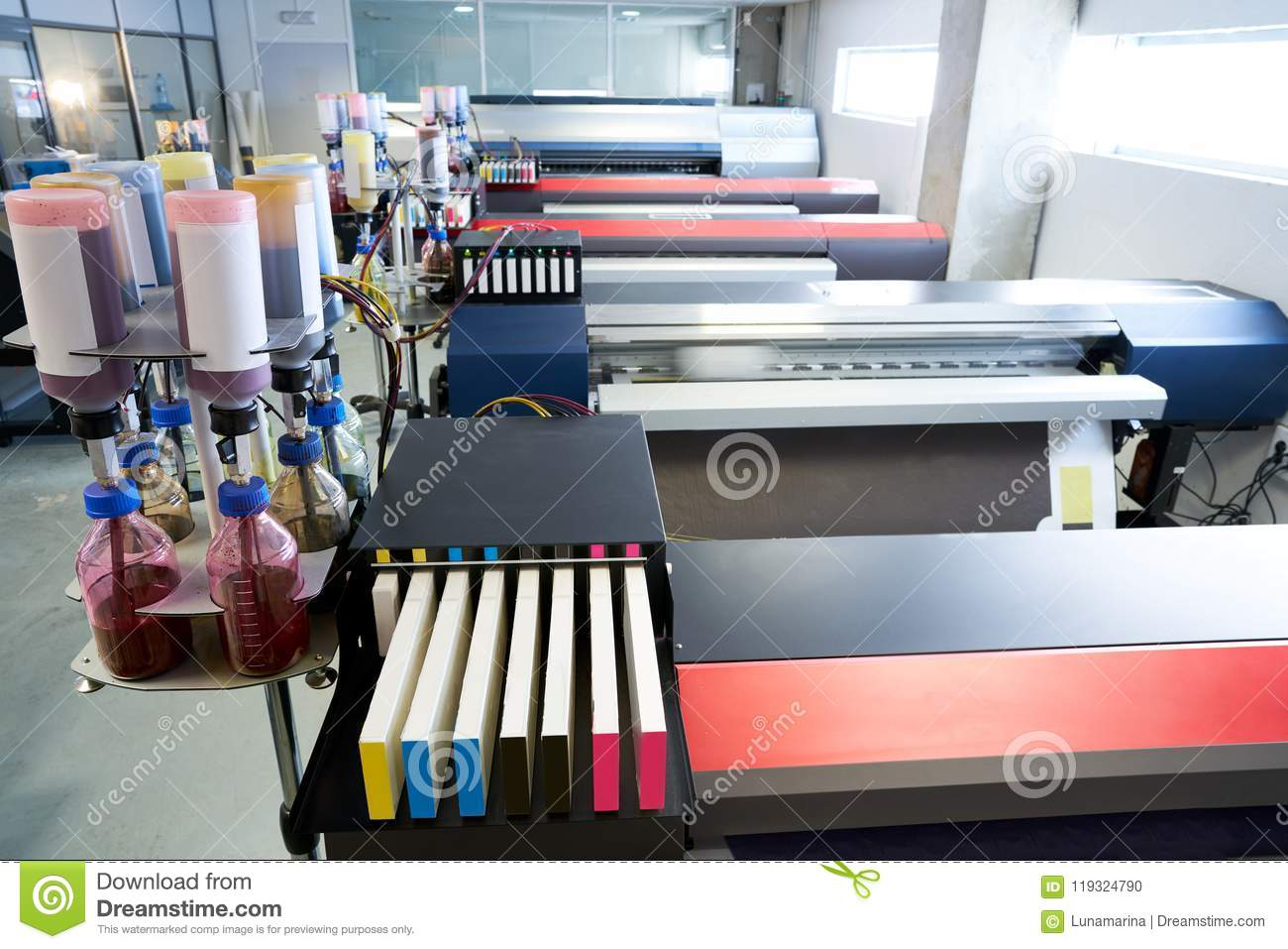 Printing Industry Transfer Paper Printer For Textile Stock Photo