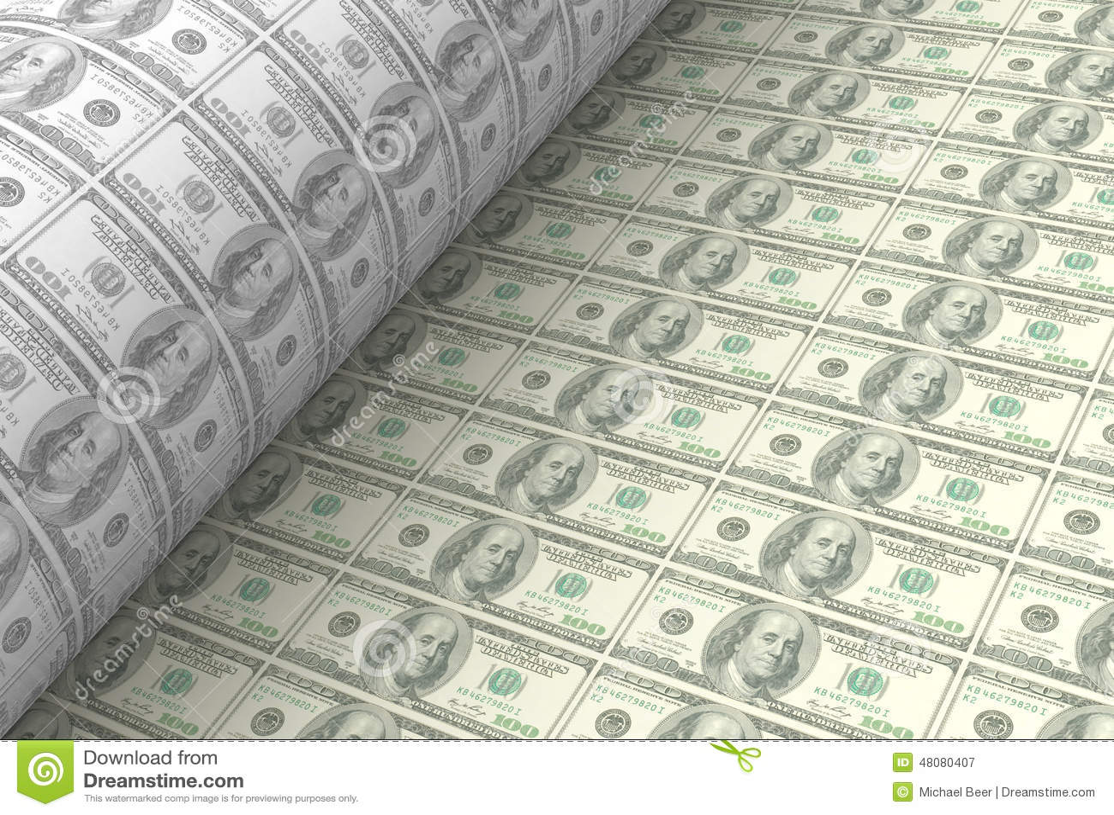 Printing US Dollar Banknotes Stock Illustration - Illustration of