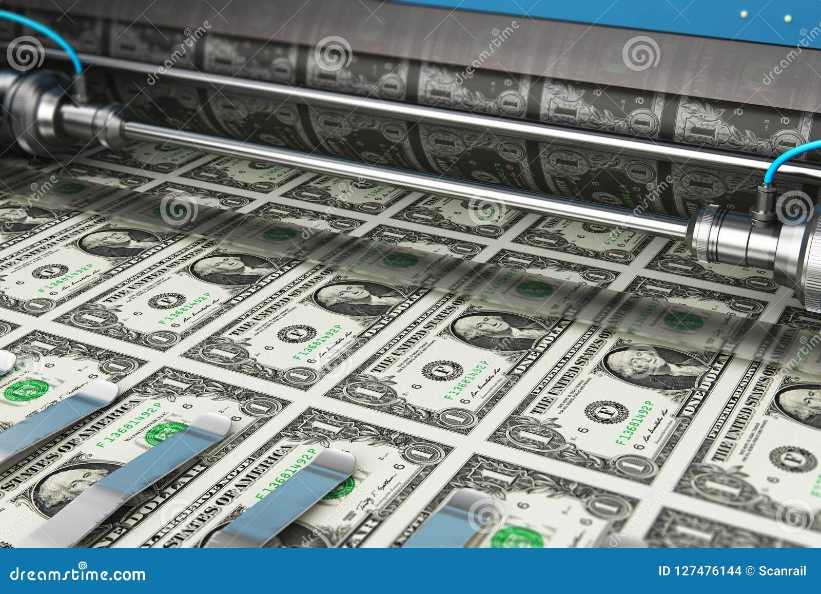 Printing 1 US Dollar USD Money Banknotes Stock Illustration