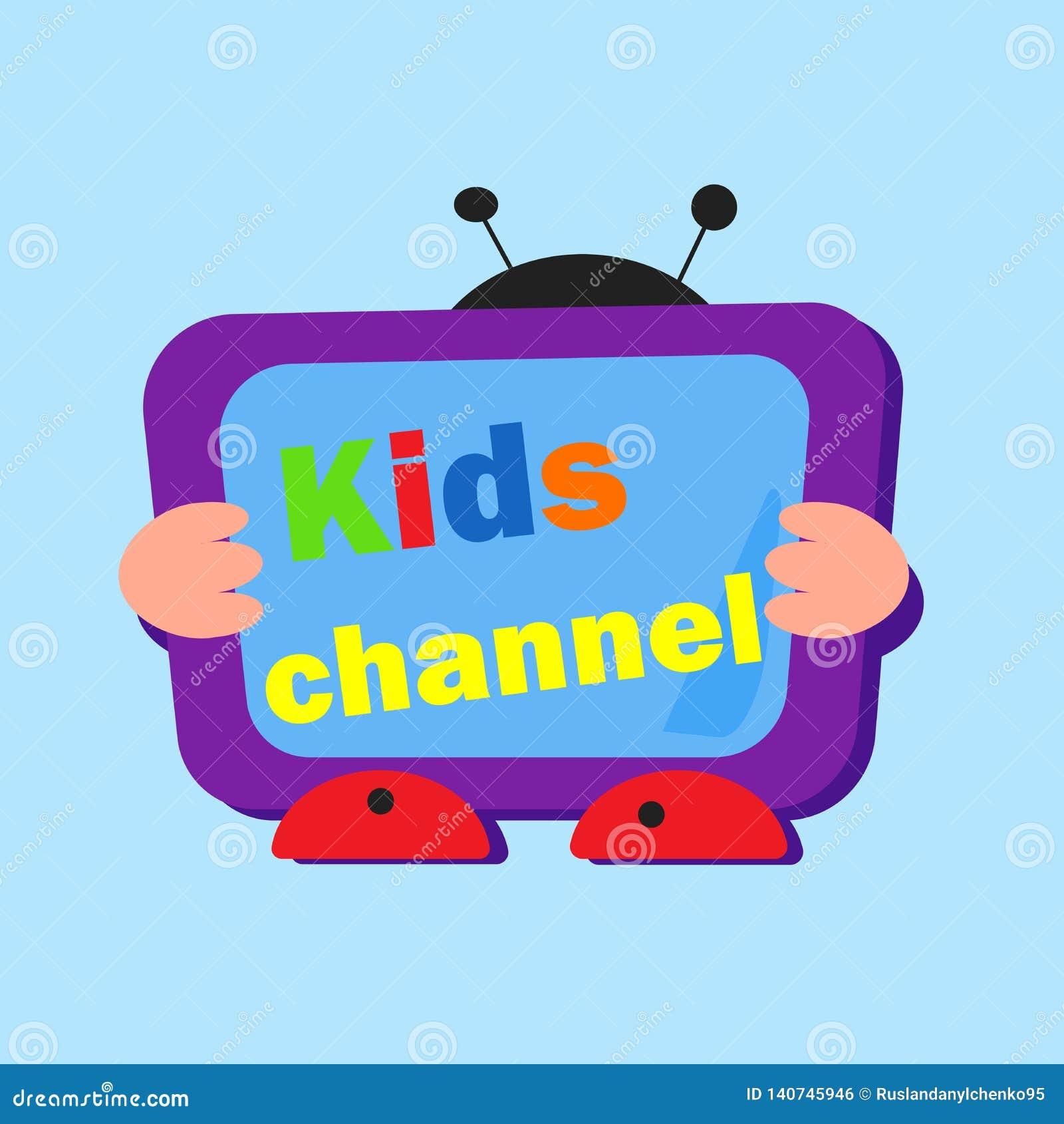 PrintLogo para a televisão das crianças Vetor Logotipo brilhante com letras e uma tevê