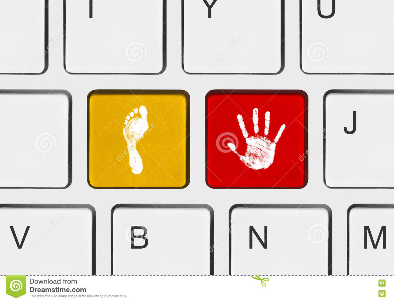 printout of hand and foot on computer keys stock image image of