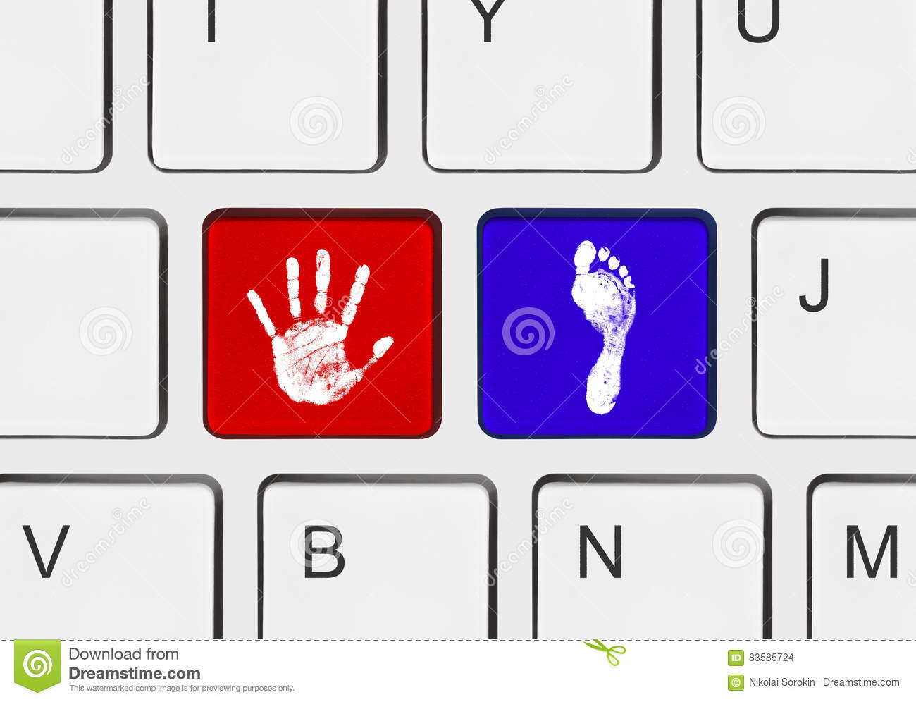 printout of hand and foot on computer keys stock photo image of