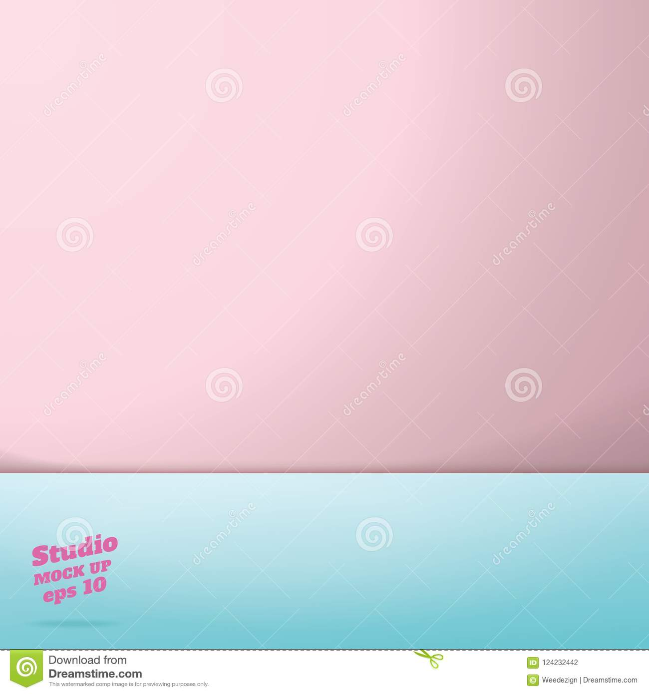 PrintVector of Empty pastel pink and blue two tone color studio