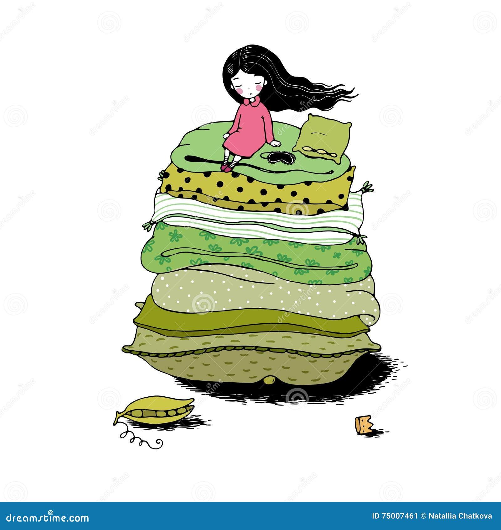 prinzessin auf der erbse vektor abbildung illustration von haar 75007461. Black Bedroom Furniture Sets. Home Design Ideas