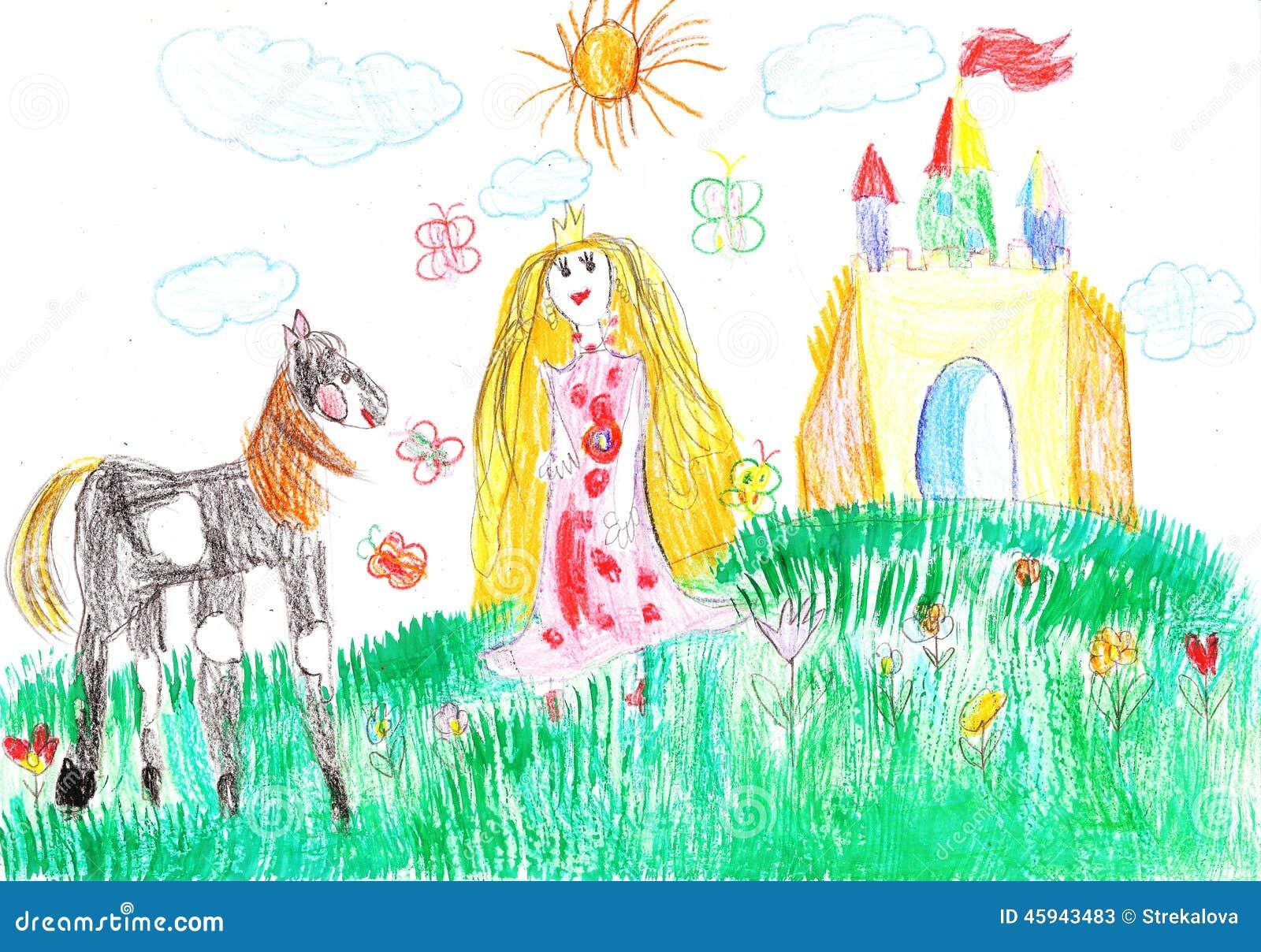 prinzessin und das pferd des schlosses stock abbildung