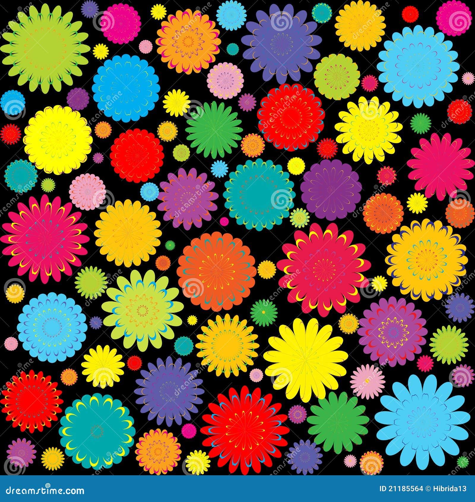 Priorit bassa astratta con i fiori colorati illustrazione for Fiori stilizzati colorati
