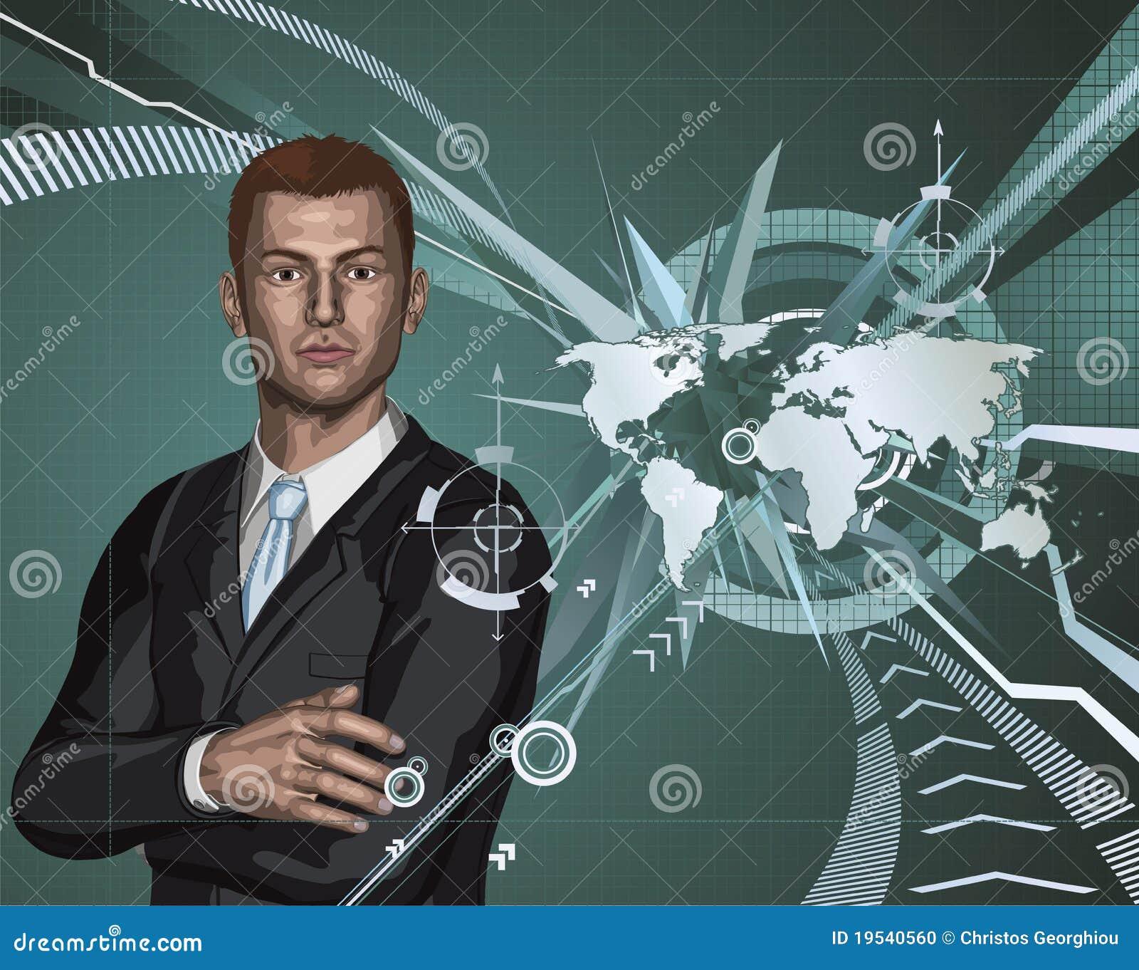 Priorità bassa astratta del programma di mondo dell uomo d affari