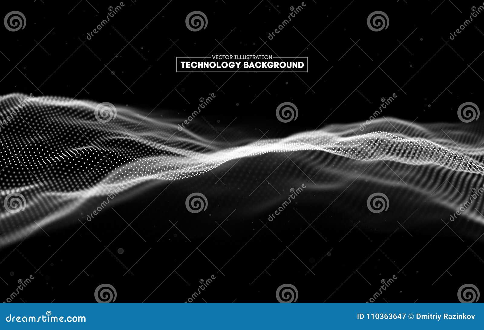 Priorità bassa astratta di tecnologia Griglia del fondo 3d Wireframe futuristico di tecnologia di Ai di tecnologia della rete cyb